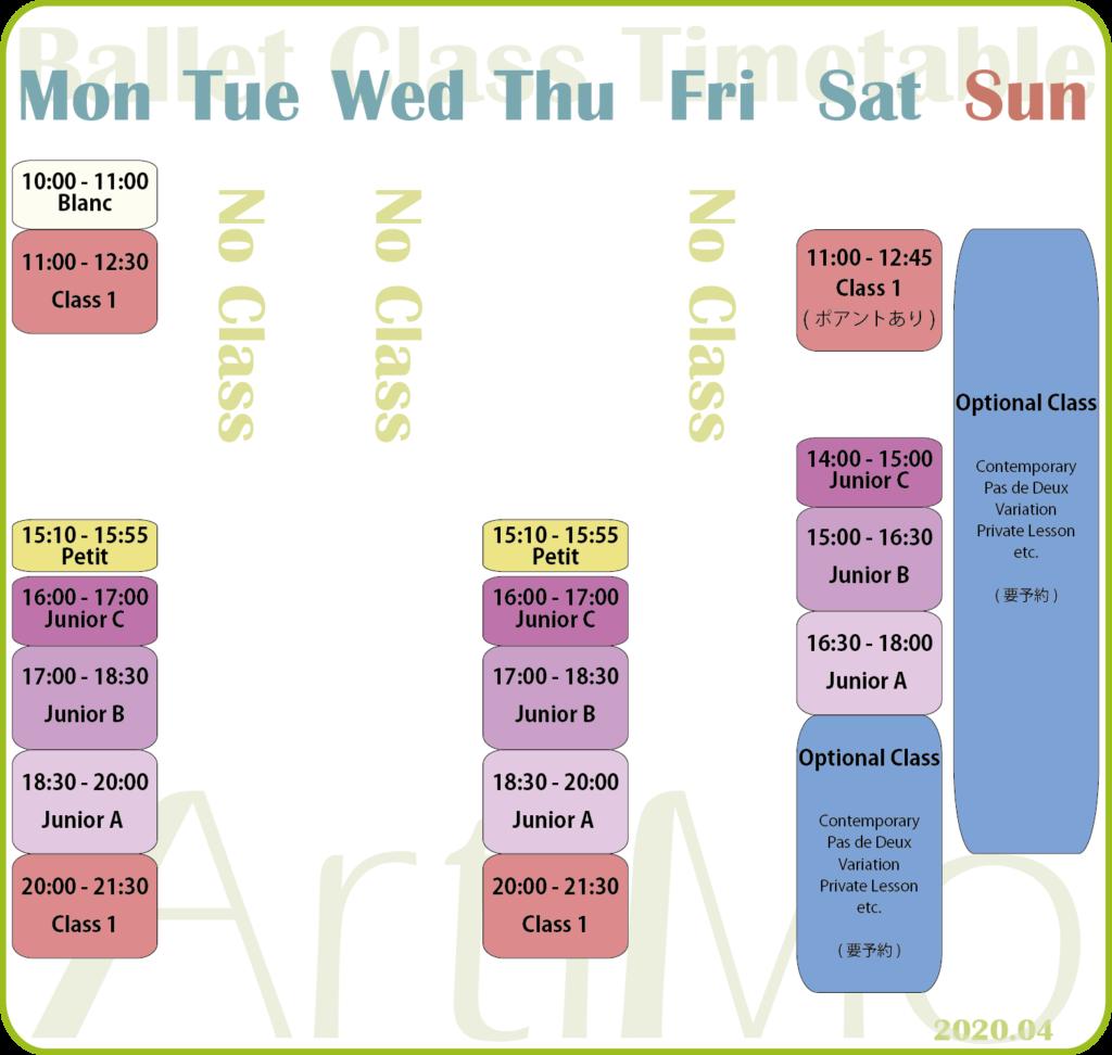 ArtiMo Ballet Class Timetable 2020.04